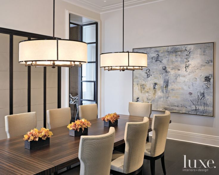 When Staging A Home GO BIG On Art Statement Lighting White Dining RoomsModern