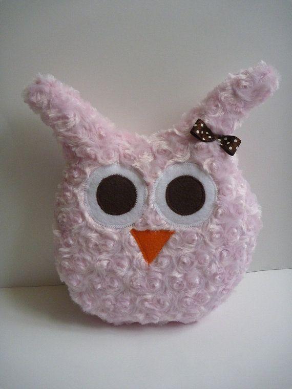 $18 minky owl pillow for girl owl room decor or owl nursery, plush owl in pink