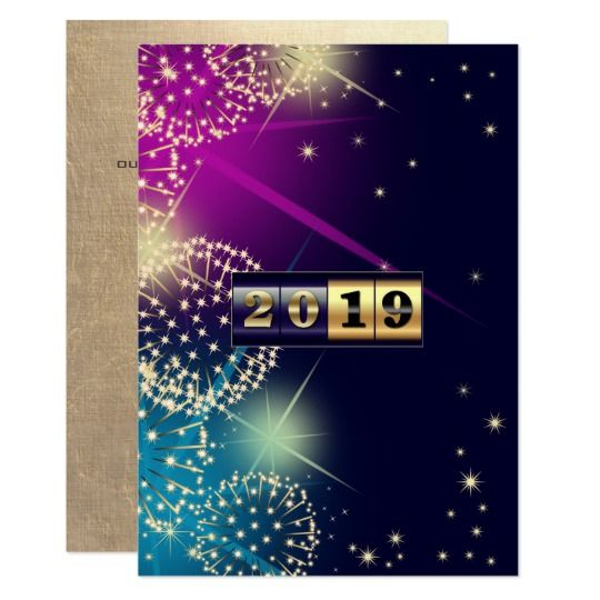 Happy New Year 2019 Custom Corporate Flat Cards Happy New Year