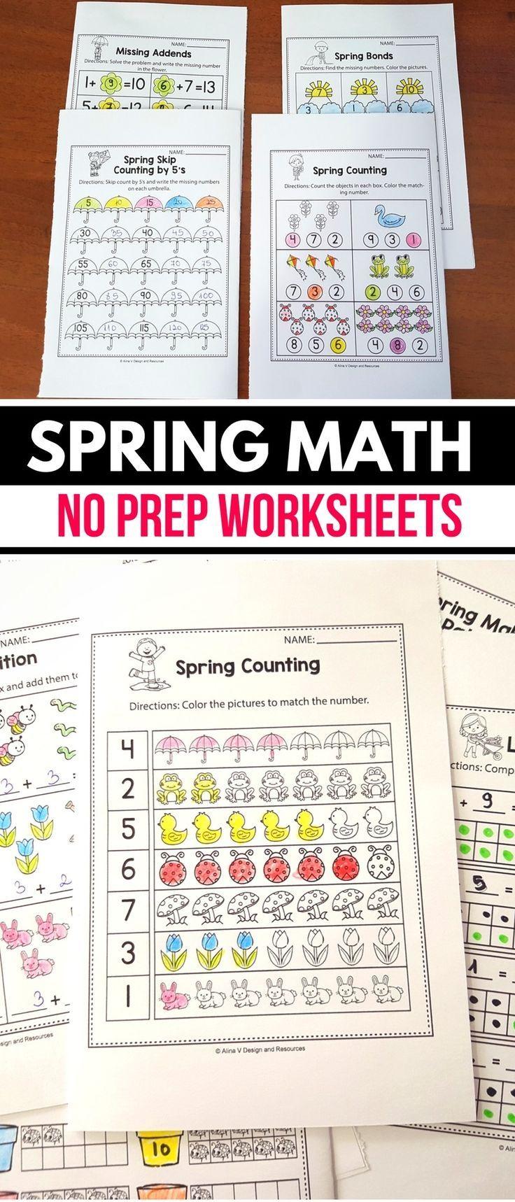 Free Spring Math Worksheets And Activities For Preschool Kindergarten And 1st Grade Kids Spring Math Worksheets Kindergarten Math Worksheets Math Worksheets [ 1718 x 736 Pixel ]