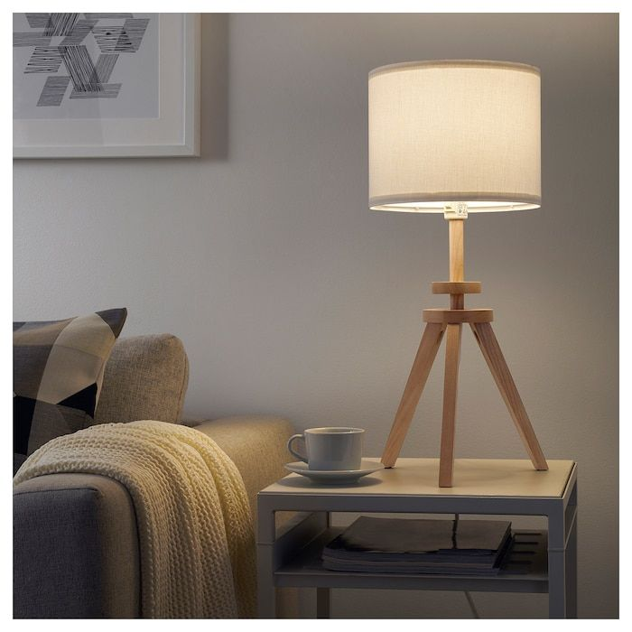 Lauters Table Lamp With Led Bulb Ash White Ikea Ikea Table Lamp Table Lamp Wood Lamp
