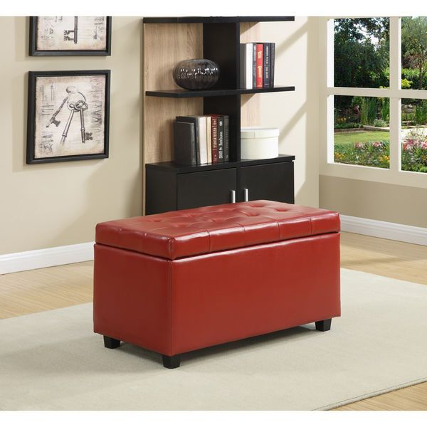 RED Ottoman Bench Storage Faux Leather Footstool Free Shipping #Wyndenhall