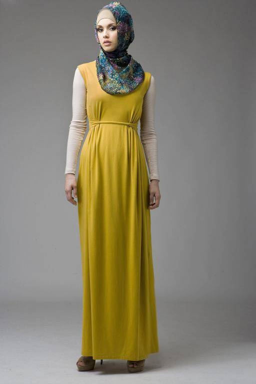 Abayas & Dresses :: Mustard Knot Dress - Hijab House Online Australia - Latests Colours and Designs in Hijabs Abayas Caps Cardigans