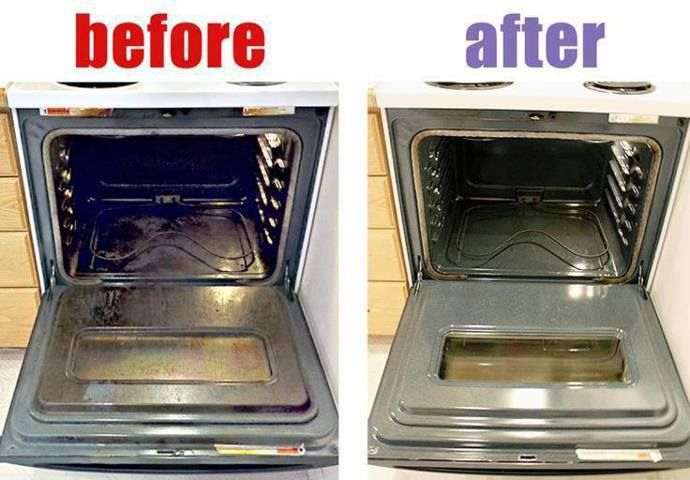Preheat oven to 150F, turn off. Boil a pot of water. Pour 1c of ammonia into a heat safe bowl. Put the ammonia  on the top rack and water on the bottom rack, close door, & leave overnight.  Next day, remove both ammonia & water. Keep ammonia. Remove racks and air out for 15 min. Add 1-2 tsps of liquid dish soap and qt of water to the ammonia. Use a heavy-duty nylon scrubbing pad dipped in the ammonia mixture. Wipe away the softened grease & grime along the sides & bottom of the oven.