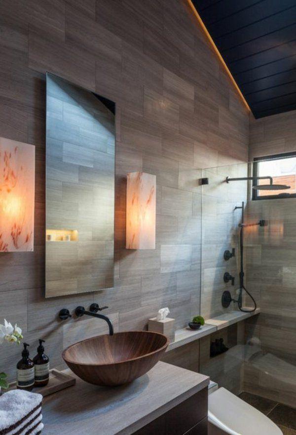 wandgestaltung beton badezimmer ideen bilder beleuchtung indirekt