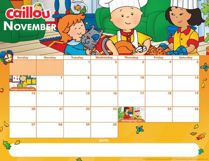Printable Caillou Calendar – November 2016 | Caillou
