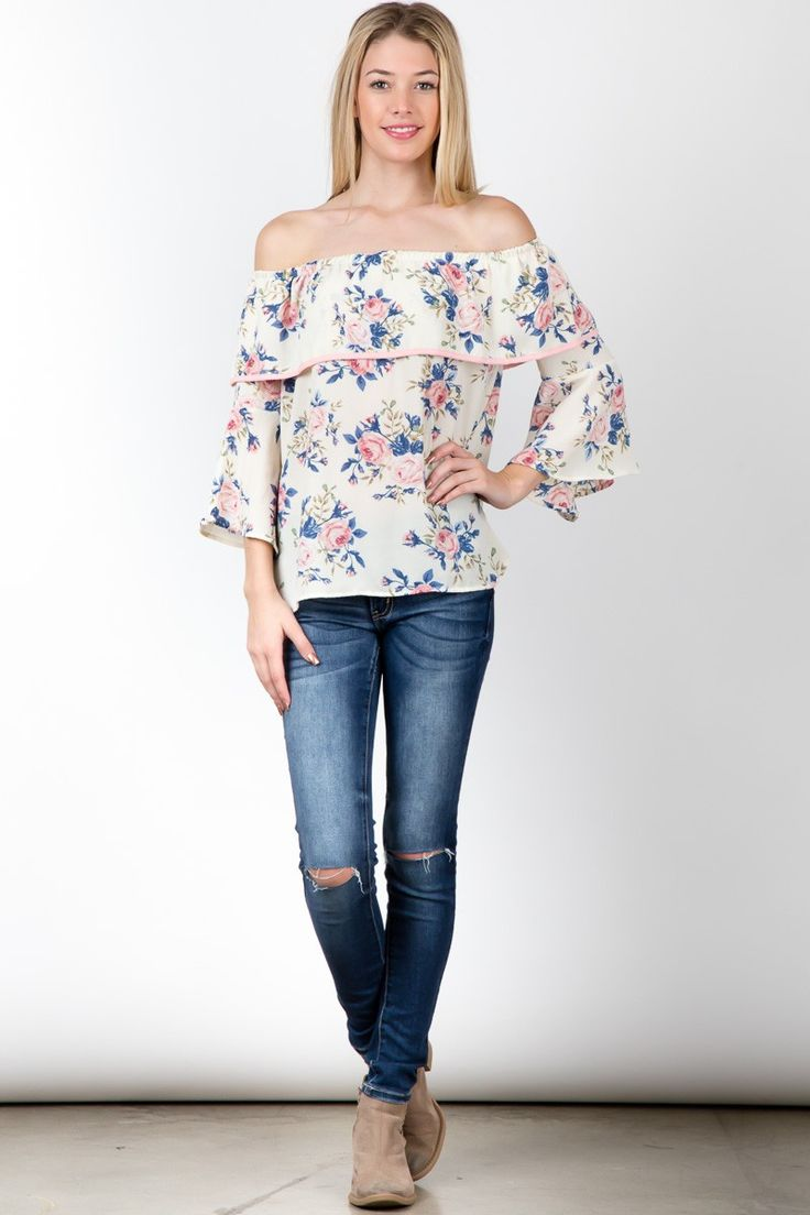 Cream floral print off shoulder ruffled 3/4 sleeve top #streetstyle #streetfashion #trend #outfit #beauty #Sleeveless #Dress ! #fashion #USA #streetwear #fashionweek #fashionshow