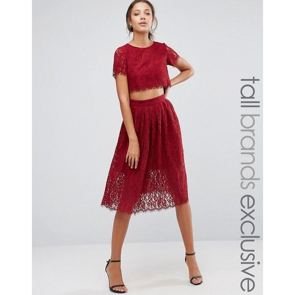 True Decadence Tall 2 In 1 Allover Lace Full Prom Skater Dress (£86) ❤ liked on Polyvore featuring dresses, red, red dress, cutout dresses, cut out dresses, red cut out dress and lace cut-out dresses