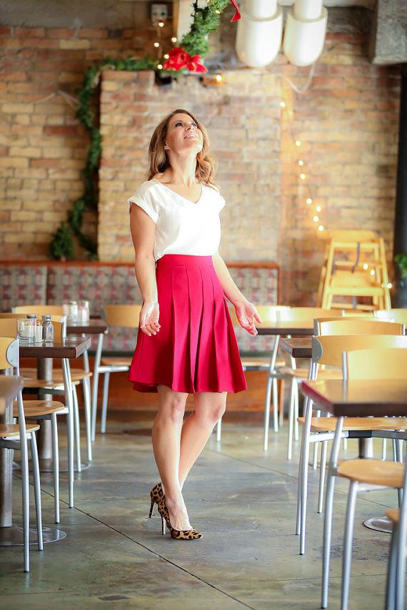 Oxford Skirt in Crimson Red by DesignsByAshleeB on Etsy