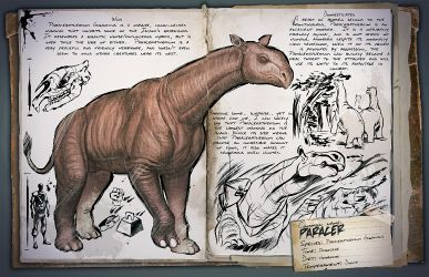 Dossier Paraceratherium  Want to see a funny fight? Then sick your pet rex on this guy.  #ark #gaming #gamer #survival #evolved