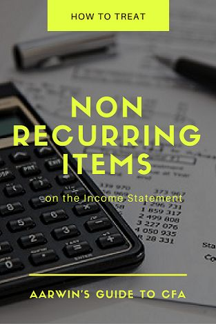 Non recurring items are those that do not appear on the income statement in all accounting periods. They are most likely to be a one time phenomenon and not likely to occur again in the near future. Learn how such items are treated on the Income Statement.