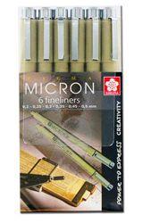 Sakura: Estuche con 6 rotuladores puntafinas Pigma Micron: 9€