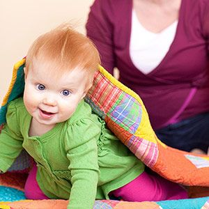 Cognitive Development: CD8-The young infant searches for missing or hidden favorite objects. Have a Treasure Hunt Partially hide an object under a blanket and ask your baby where it is. At this age, children are able to mentally recreate the whole object even If they can see only part of it.