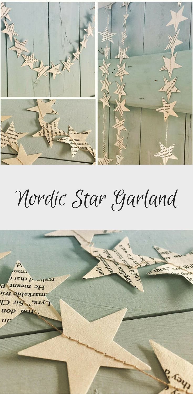 Simple idea for a beautiful star garland. Gorgeous Nordic star garland - looks like it would be really easy to DIY too. #etsy #handmade #scandistyle #affiliate #scandichristmas