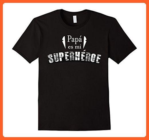 Mens Papa es mi super heroe spanish espanol tshirt  XL Black - Relatives and family shirts (*Partner-Link)