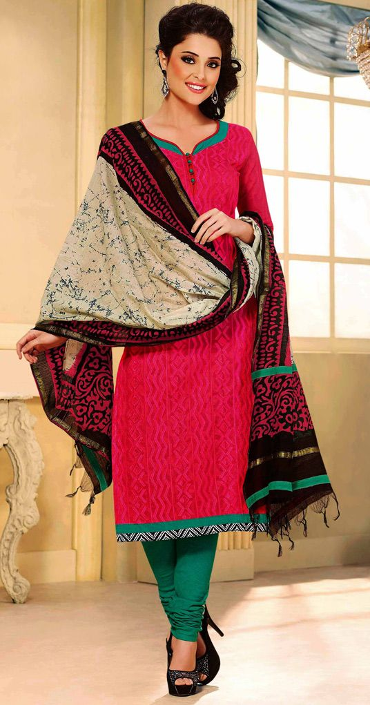 USD 25.46 Magenta Chanderi Churidar Suit 44477