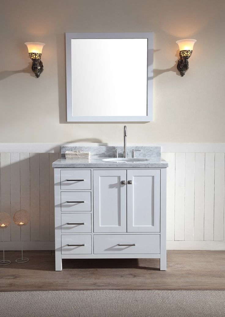 ariel cambridge 37 single sink vanity set w right offset sink in white