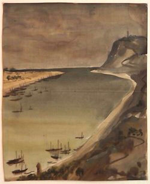 """Quiet Bay, Astrakhan. Vladimir Timirev 1914-1938. Graduated from the Vocational School of Construction. After graduation, he worked as an artist-illustrator. Jack London's book """"Northern Tales"""" was published with Timirev's illustrations. Timirev participated in a science expedition to the Caspian Sea where he produced many sketches, drawings and water colours. He was arrested in 1938 and shortly afterwards executed by shooting. Apparently, the cause was denunciation made by people close to…"""