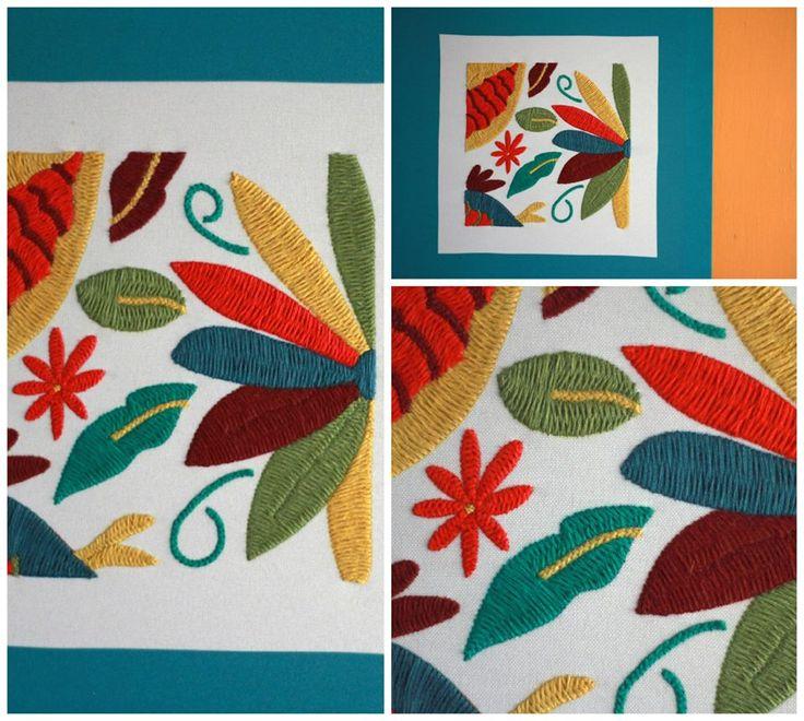 Cuadros bordados a mano con diseños originales, hechos en colaboración con la red de mujeres artesanas Niu Matat Napawika