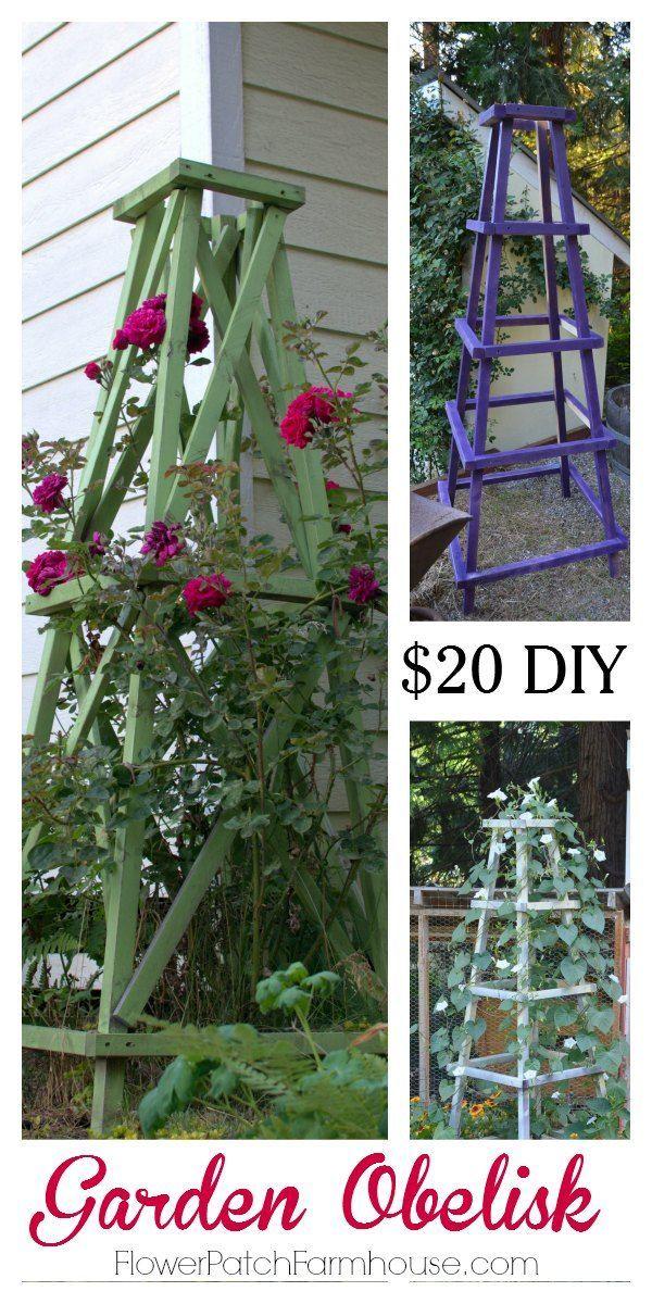 Easy to build DIY Garden Obelisk for $20, FlowerPatchFarmhouse.com