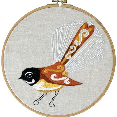 Fantail embroidery pdf pattern from The Stitchsmith