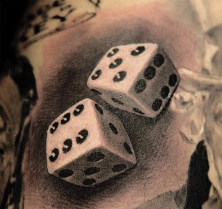 Realistic dice tattoo by Miguel Bohigues