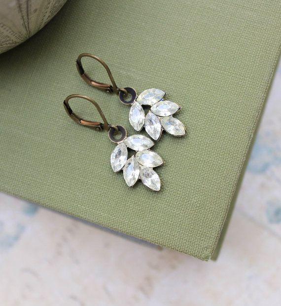 Rhinestone Leaf Earrings Leverback Earrings by apocketofposies