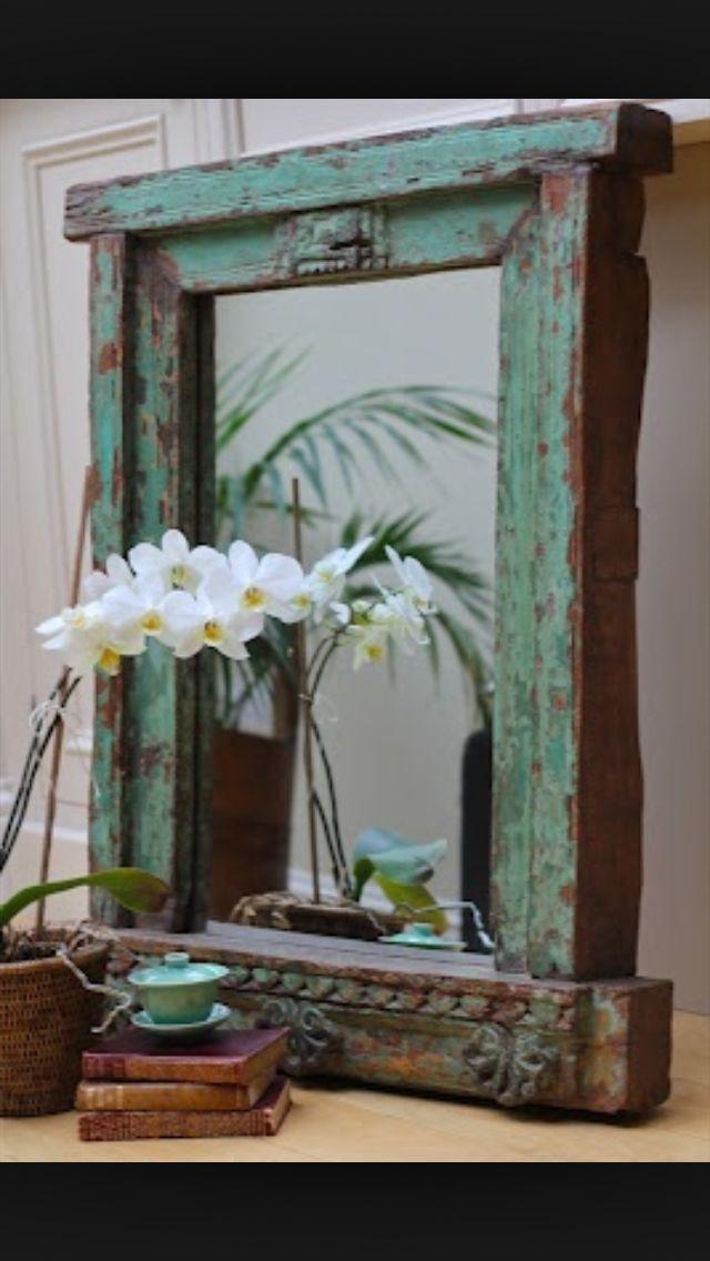 Rustic window frame mirror