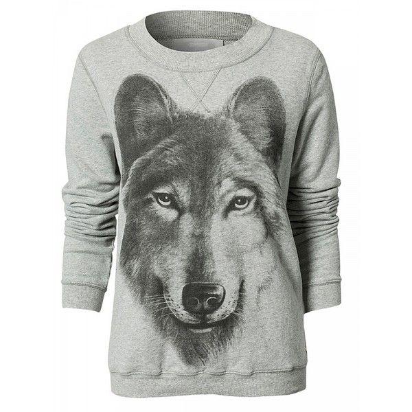 Grey Long Sleeve Wolf Print Sweatshirt ($22) ❤ liked on Polyvore featuring tops, hoodies, sweatshirts, wolf sweatshirt, grey sweatshirt, long sleeve sweatshirt, grey long sleeve top and long sleeve tops