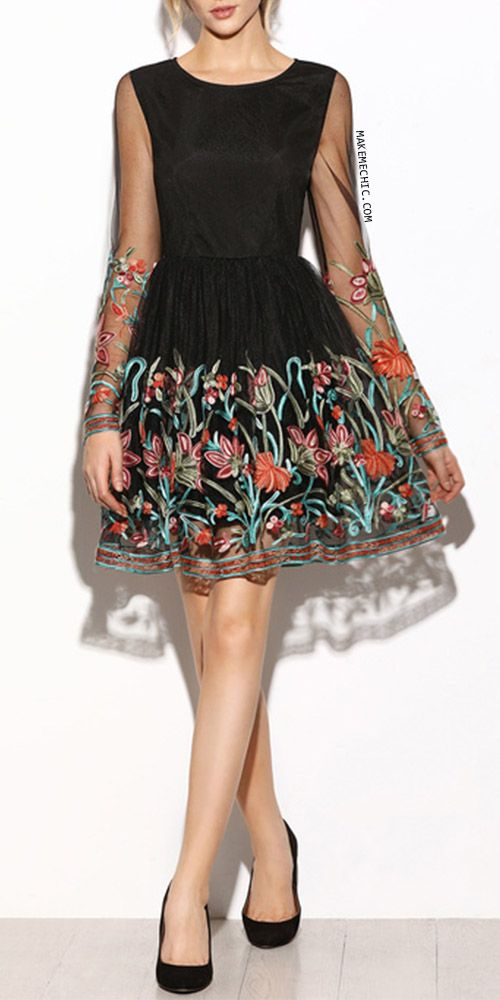 Black Sheer Sleeve Embroidered Mesh Dress