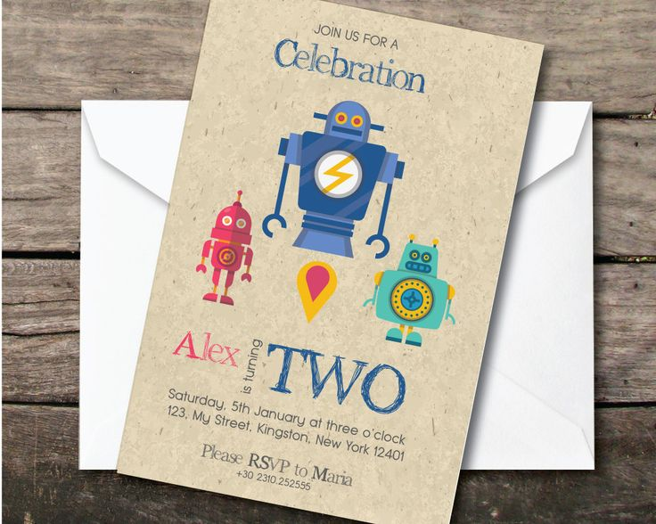 robot birthday party invitation, Printable and printed, second birthday boy, paper and party supplies, thank you card, robot party, space by BeePrintDesigns on Etsy