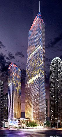 New Wilshire Grand towers. Coming soon to Downtown L.A. Image from: brighamyen.com