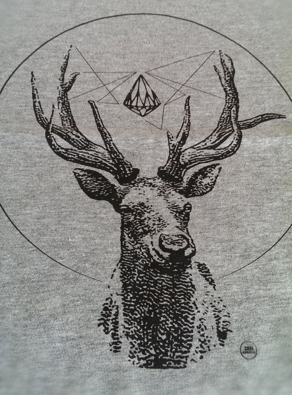 Man Deer Spirit of Nature TShirt Cotton L XL 2XL 3 di ZenCircles