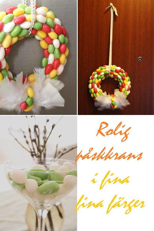 Påskkrans av godis, en fin dörrkrans som passar till påsk, påsk, pyssla lagom till påsk