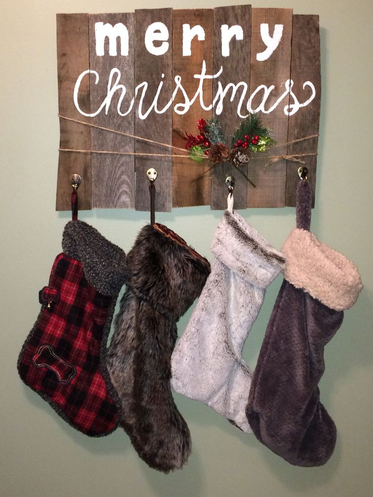 Rustic Pallet Wood Christmas stocking holder DIY                              …