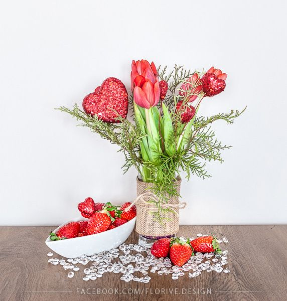 Valentine's Day Decoration with Tulips and Strawberries
