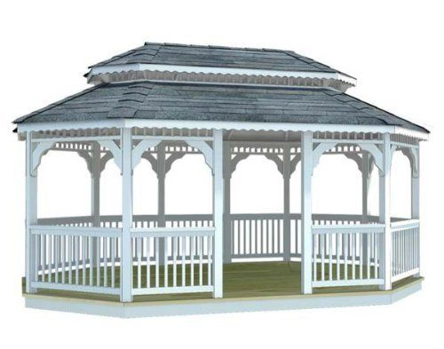 14' x 24' Vinyl Oval Double Roof Gazebo by Fifthroom. $15699.00