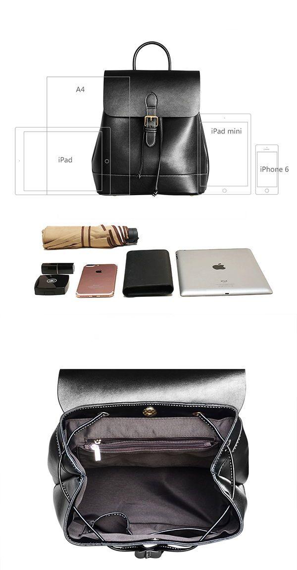ec6312fda05 Womens Black Leather Backpack Purse Cute Backpacks for Women detials ...