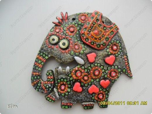 Картина панно рисунок Лепка Роспись 9 слонов соленое тесто Гипс Тесто соленое фото 3