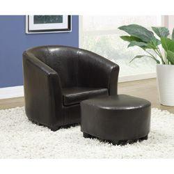 Kidsu0027 Dark Brown Leather Look Chair / Ottoman 2 Piece Set