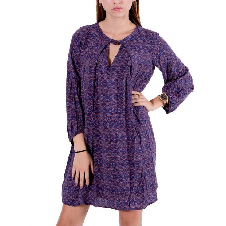 ALE Γυναικείο έθνικ μωβ μακρυμάνικο μίντι φόρεμα