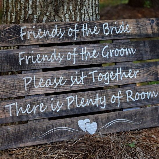 Wedding Ceremony Sign - Rustic Wedding - Pick A Seat Not A Side - Please Sit Together