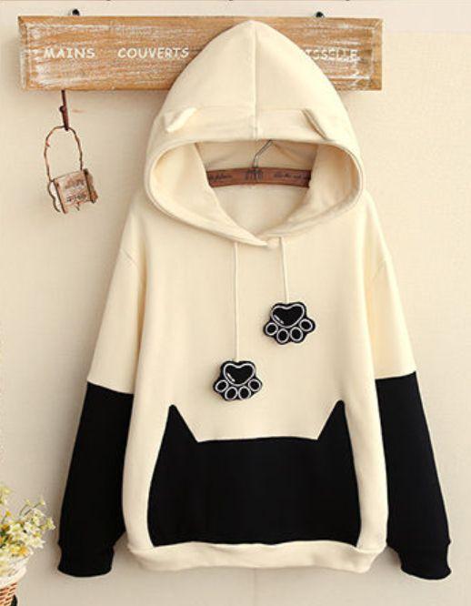 Sudadera de gato, con capucha. #Cat Paw #Hooded #Pullover
