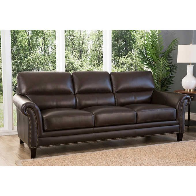 Belcaro Top Grain Leather Sofa Costco Leather Match Sides And Back Top Grain Leather Sofa Leather Sofa Sofa