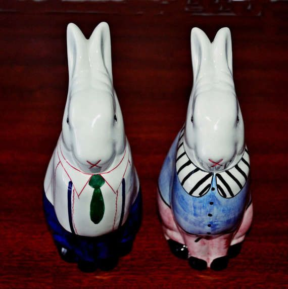 Vintage Mr And Mrs Rabbit Ceramic Easter Bunnies Male And