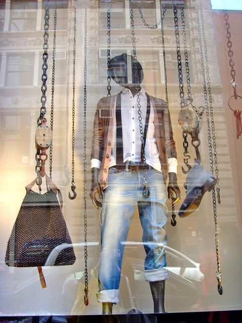 visual merchandising | window display | menswear | chains | bags