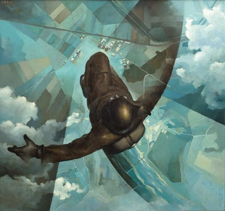 "Tullio Crali, ""Before the Parachute Opens"" (1939) @ Guggenheim NYC's ""Italian Futurism"" Show (2014) (This is an excellent exhibit.)"
