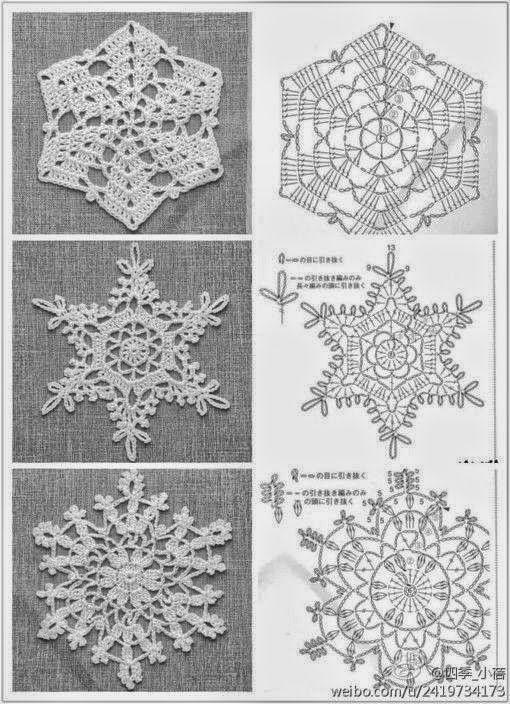 Tantissimi Fiocchi di neve all'uncinetto per Natale, da usare come sottobicchieri, come addobbi natalizi, come elementi singoli da riunire in una bel centrotavola.