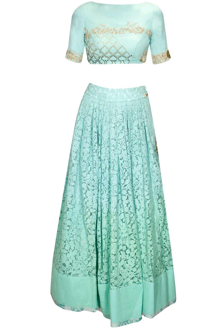 Teal moroccan rose embroidered lehenga set available only at Pernia's Pop Up Shop.#perniaspopupshop #shopnow #newcollection #clothing #designer #festive # thelittleblackbow