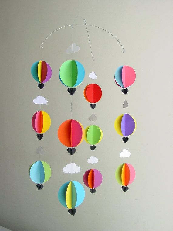 This mobile is approximately 10,5 (28cm) wide x 23 (60cm) long. It features 4 strands of 3 hot air balloons made from 3 layered circles, with